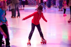 little girl roller skating