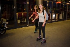 girls roller-skating