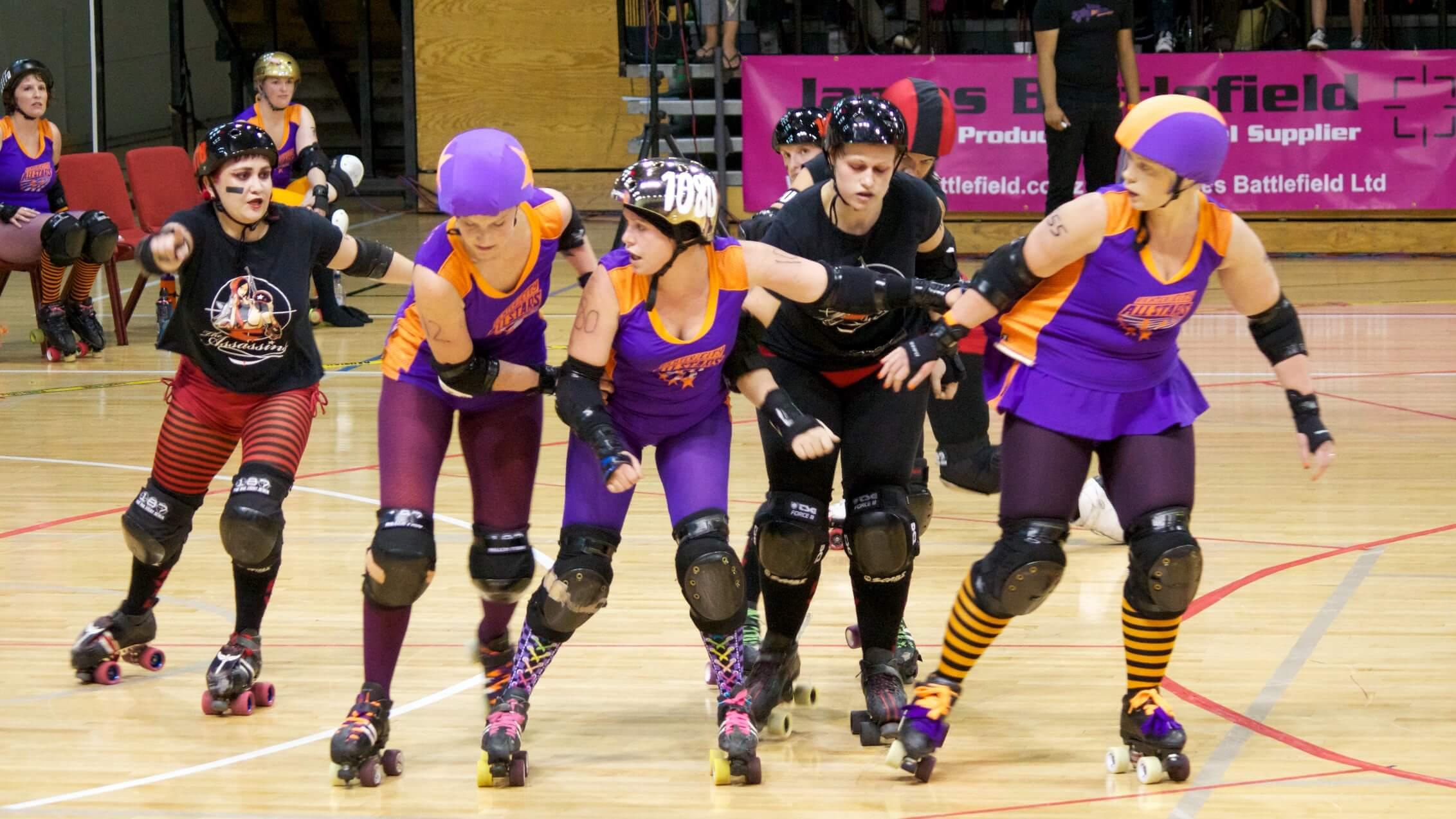 Roller skating derby - Roller Derby Bout Wellington S Richter City All Stars Vs Sydney S Assassins At The Tsb Bank
