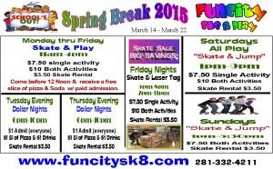spring break skating schedule