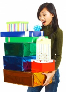 girl with birthday presents
